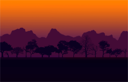 Colorful African Nature Sunset with Silhouetted Trees and Mountain Vector