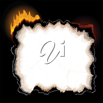 Royalty Free Clipart Image of a Burning Paper Background