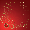 Royalty Free Clipart Image of a Heart Background With Flourishes