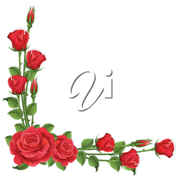 Royalty Free Clipart Image of a Rose Frame on White