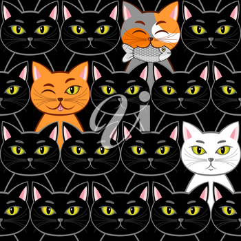 Seamless with different cats (can be repeated and scaled in any size)