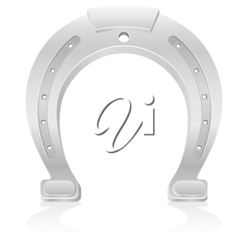 Royalty Free Clipart Image of a Silver Horseshoe