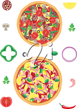 Royalty Free Clipart Image of a Two Pizzas