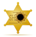 sheriff star with a bullet hole vector illustration isolated on white background