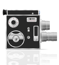 old retro vintage movie video camera vector illustration isolated on white background