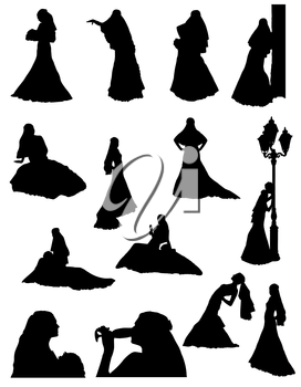 bride realistic silhouette set icons vector illustration isolated on white background
