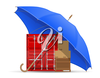 concept of protected and insured cargo umbrella vector illustration isolated on white background