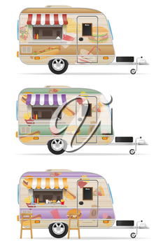 fast food trailer vector illustration isolated on white background
