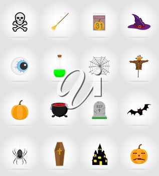 halloween flat icons vector illustration isolated on background