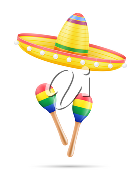 sombrero national mexican headdress and maracas vector illustration isolated on white background