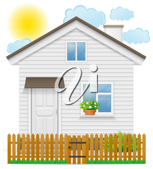small country house with a wooden fence vector illustration isolated on white background