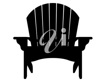 beach or garden armchair black contour silhouette vector illustration isolated on white background