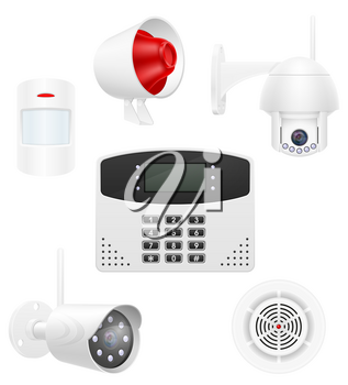 home security system set icons vector illustration vector illustration isolated on white background