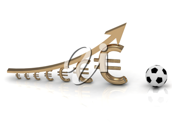 Royalty Free Clipart Image of a Graph With Euro Signs and a Soccer Ball