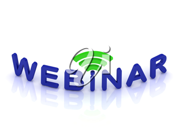 Royalty Free Clipart Image of the Word Webinar and an RSS Signal