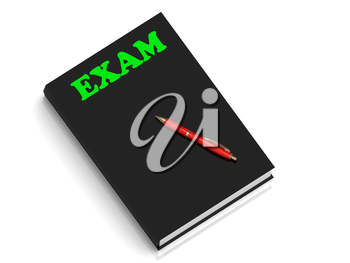 EXAM- inscription of green letters on black book on white background