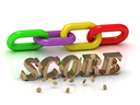 SCORE- inscription of bright letters and color chain on white background