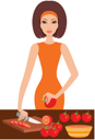 Royalty Free Clipart Image of a Woman Cutting Tomatoes