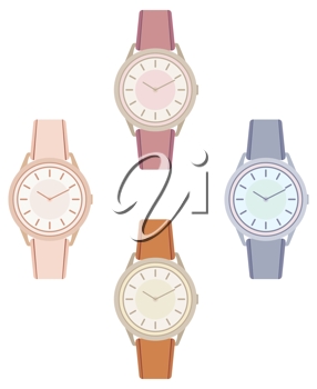 Royalty Free Clipart Image of Four Wristwatches