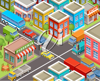 Image isometric city, road, cars, houses. Vector illustration