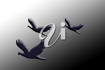 Royalty Free Clipart Image of Three Doves