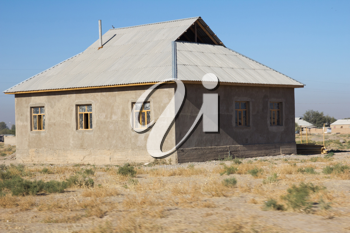 brick house in the steppes of Kazakhstan
