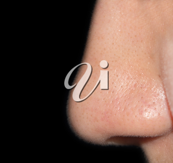 Women's nose on a black background close-up