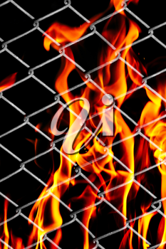 fire in a metal grid