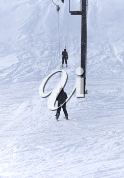 people skiing in the snow in the winter