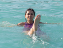 girl in a bathing suit in the water park