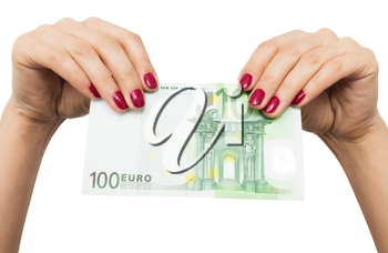 one hundred euro in hand girls on white background