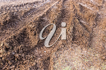 track from a car in a dirty ground