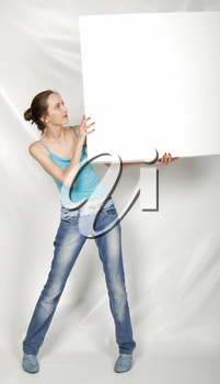 Promotion - beautiful girl whit sign, one person