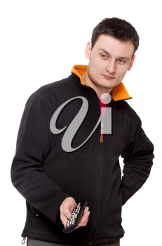 Royalty Free Photo of a Man Holding a Remote
