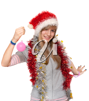 Royalty Free Photo of a Girl Wearing a Santa Hat