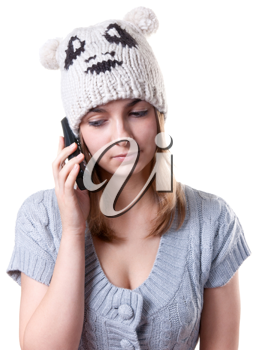 Royalty Free Photo of a Woman Talking on a Telephone