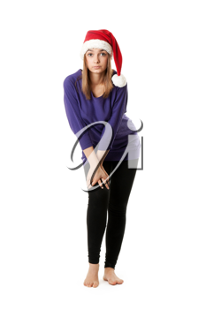 Royalty Free Photo of a Girl in a Santa Hat