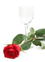 Royalty Free Photo of a Wineglass and Rose