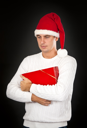 Royalty Free Photo of a Man Holding a Present