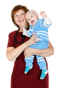 grandmother with her grandson in her arms in the studio on a white background