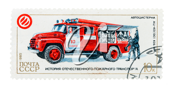 postage stamp with a picture of fire truck