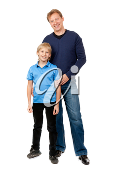 Dad and son are in the studio on a white background