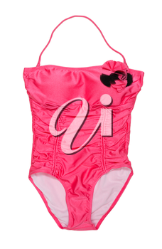 Red fashionable female conjoint swimsuit. Isolate on white.