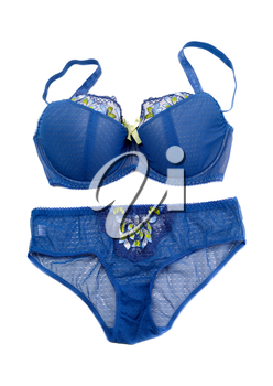 Blue Set of lingerie, isolate on a white background
