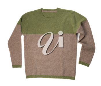 Male knitted wool sweater. Isolate on white.