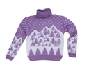 Purple sweater with a reindeer with a high neck. Isolate on white.