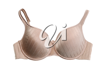 Beige bra with embroidered pattern. Isolate on white.