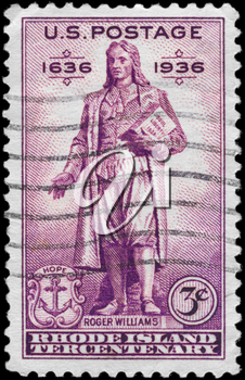 Royalty Free Photo of a 1936 US Stamp With the Statue of Roger Williams (1603-1683), Rhode Island Tercentenary Issue