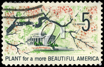 Royalty Free Photo of 1966 US Photo Shows Jefferson Memorial, Beautification of America Issue