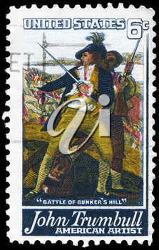 Royalty Free Photo of 1968 US Stamp Shows Detail From the Battle of Bunker's Hill by John Trumbull (1756-1843)